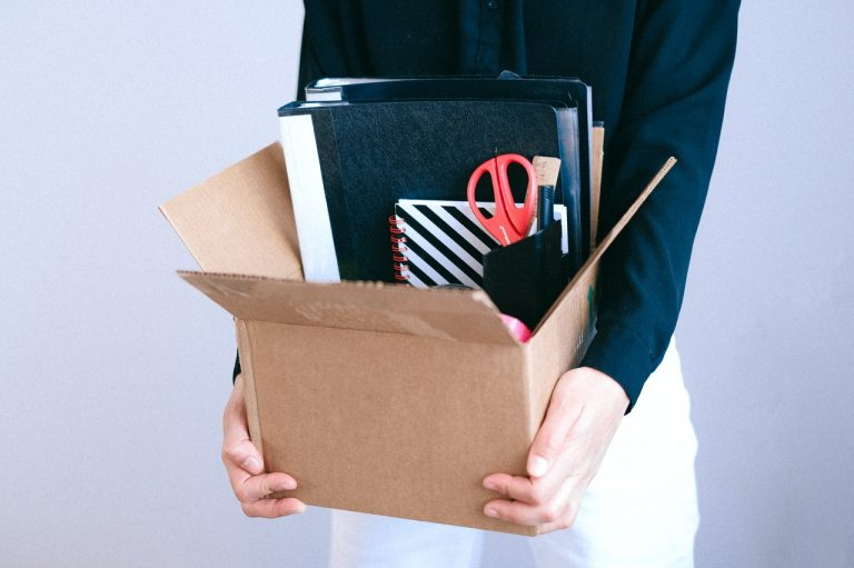 employee holding box